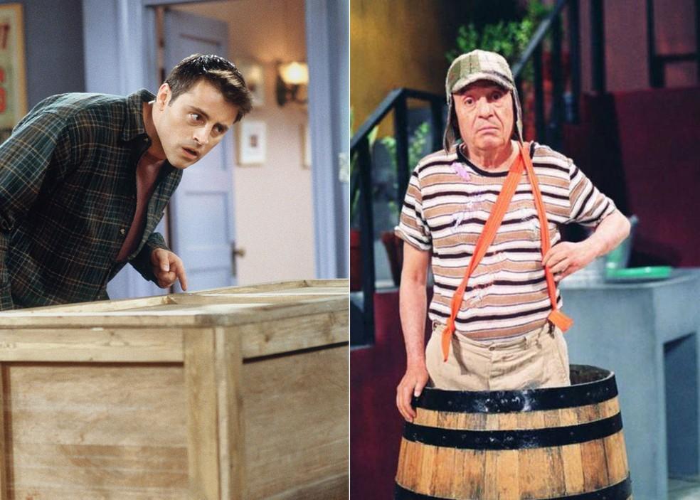 Joey (Matt LeBlanc) em 'Friends' e Roberto Gómez Bolaños em 'Chaves' — Foto: Divulgação