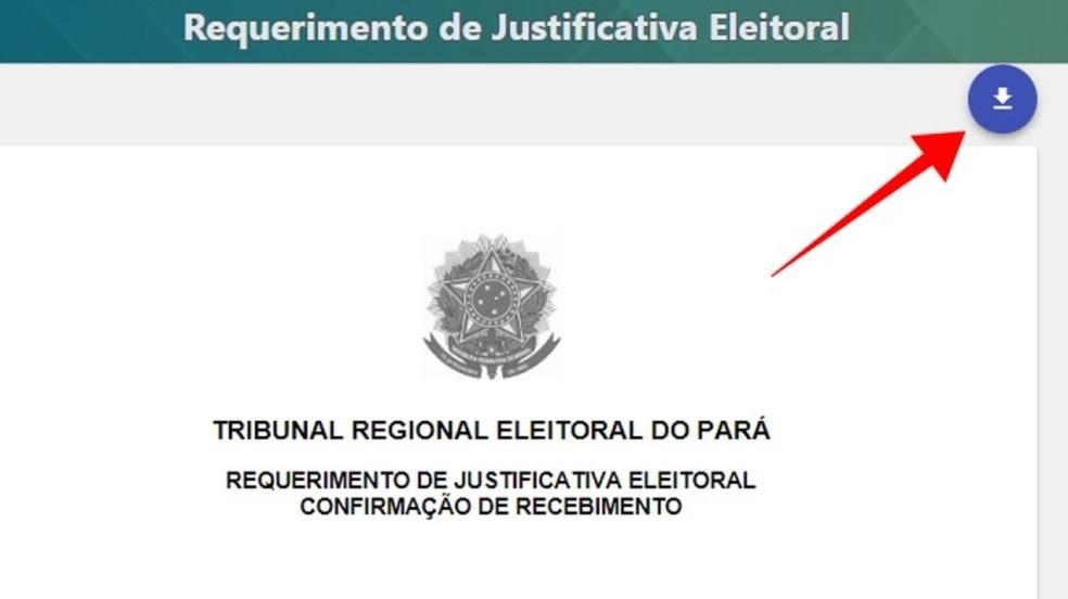 Faça o download do comprovante de requerimento da justificativa — Foto: Reprodução/Paulo Alves