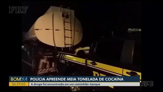 Quase 500 kg de cocaína são apreendidos em caminhão-tanque na Região de Curitiba