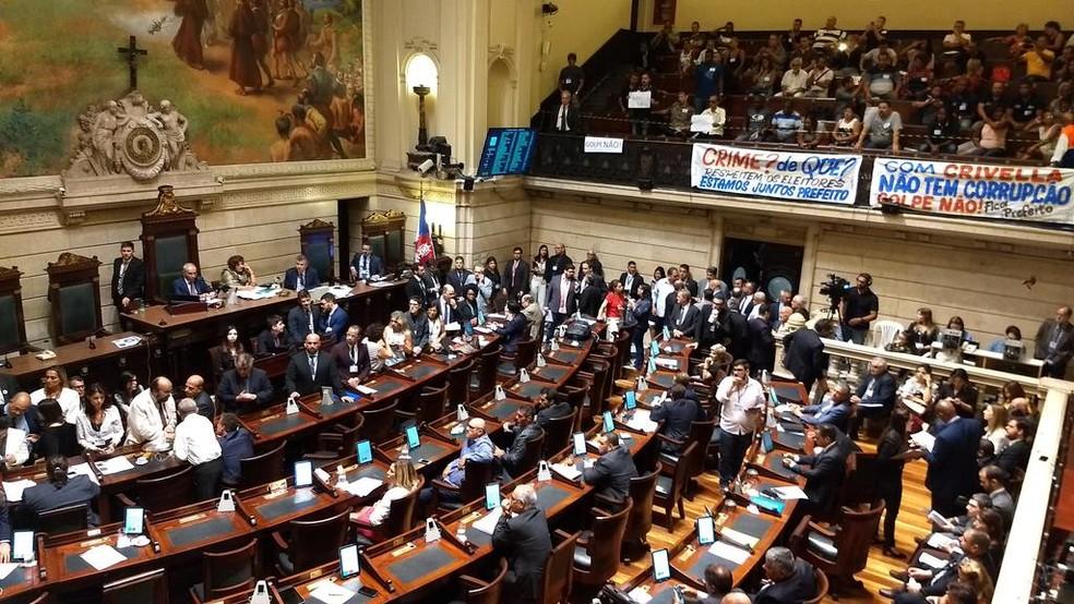 Câmara do Rio vota admissibilidade do impeachment de Crivella — Foto: Reprodução/Twitter Câmara Oficial