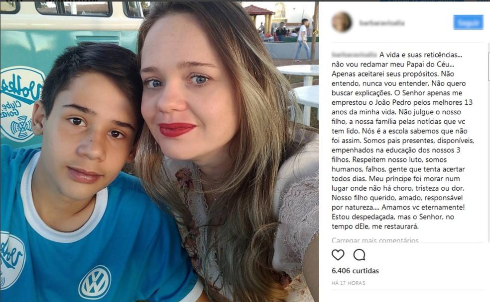 Barbara Melo fez postagem na web pedindo que não julgassem seu filho (Foto: Reprodução/Instagram)
