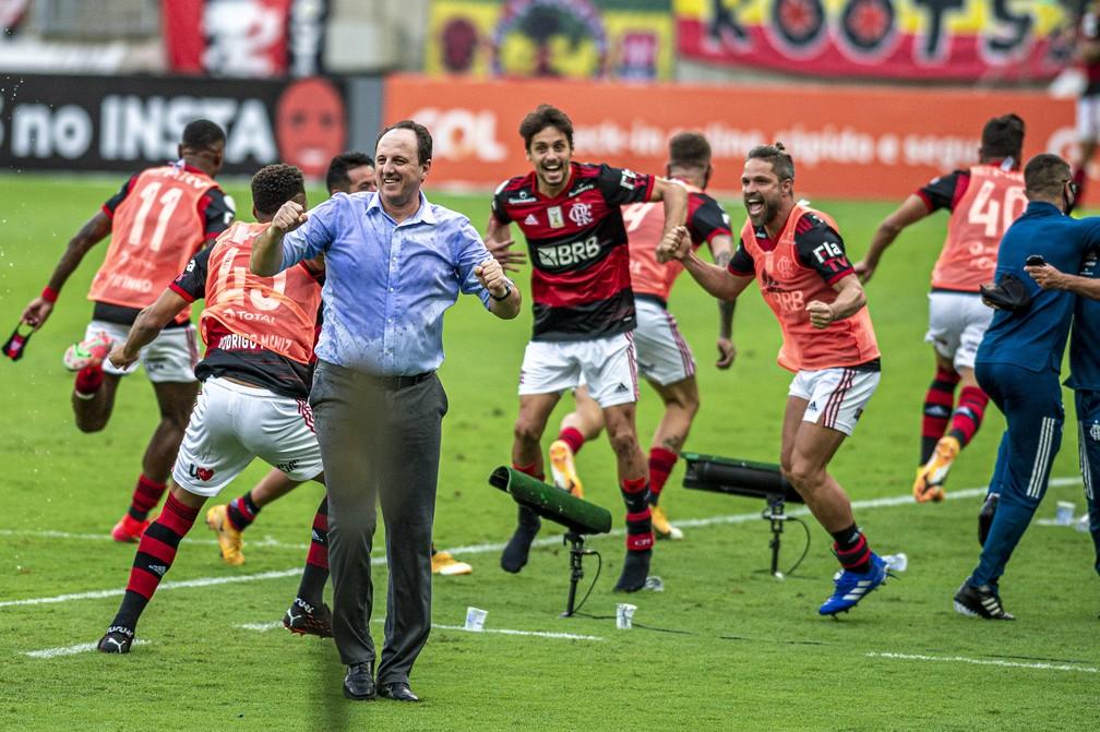 Rogério Ceni e jogadores comemoram gol da virada do Flamengo contra o Internacional — Foto: Marcelo Cortes / CRF