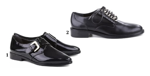 1. Oxford de verniz Arezzo, R$ 279,90. 2. Oxford no gender Schutz, R$ 450