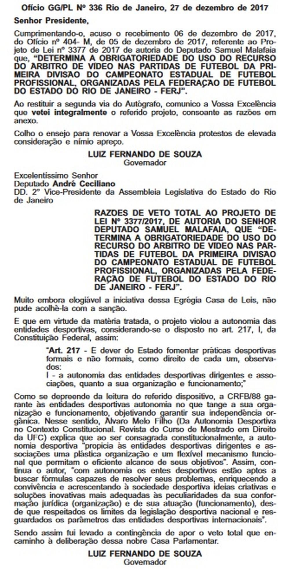 Diário Oficial - Pezão/Carioca (Foto: Reprodução)