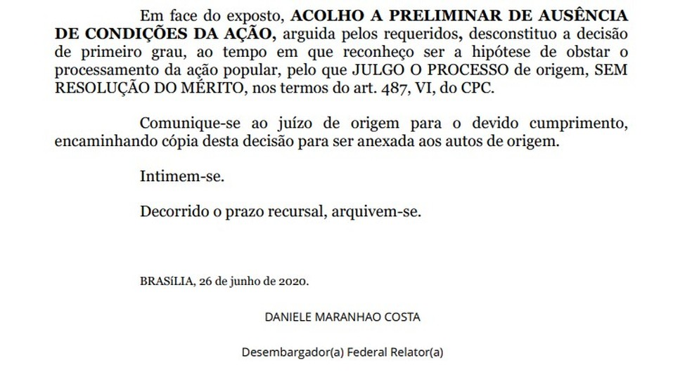 Trecho de decisão que derruba liminar que obrigava Bolsonaro a usar máscara no DF — Foto: Reprodução