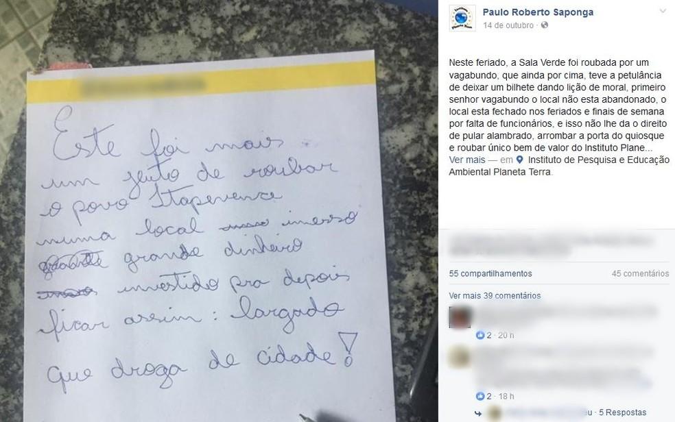 Paulo Saponga, responsável pela ONG, critica bilhete deixado por ladrão (Foto: Reprodução/Facebook)