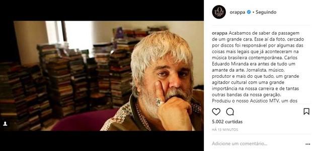Raimundos lamenta morte de Carlos Eduardo Miranda (Foto: Reprodução/Instagram)