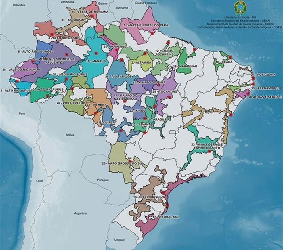 Mapa dos Distritos Sanitários Especiais Indígenas (DSEIs), responsáveis pelo atendimento das comunidades — Foto: Ministério da Saúde/G1