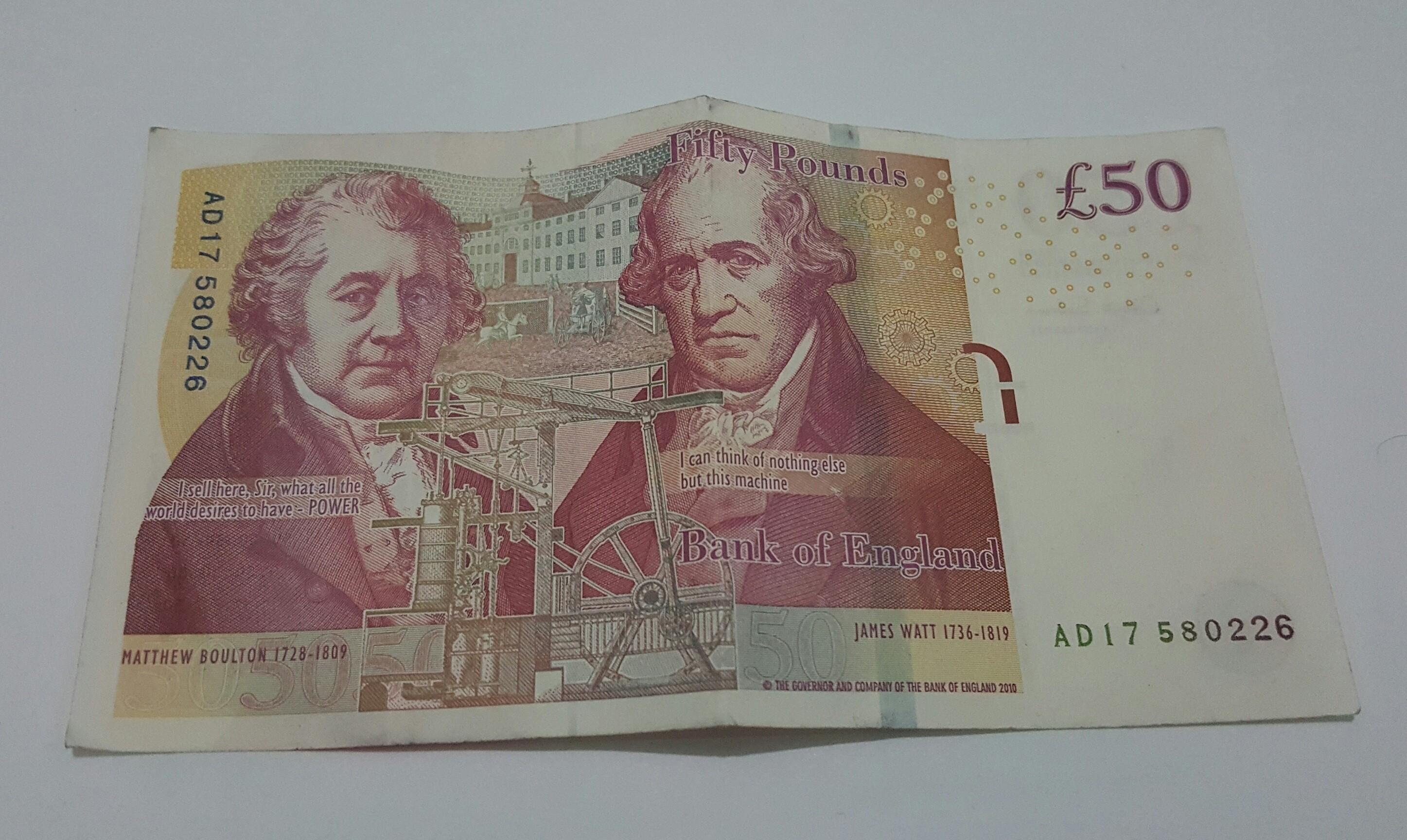 Atual cédula de 50 libras com James Watt e Matthew Boulton (Foto: Pxhere/Creative Commons)