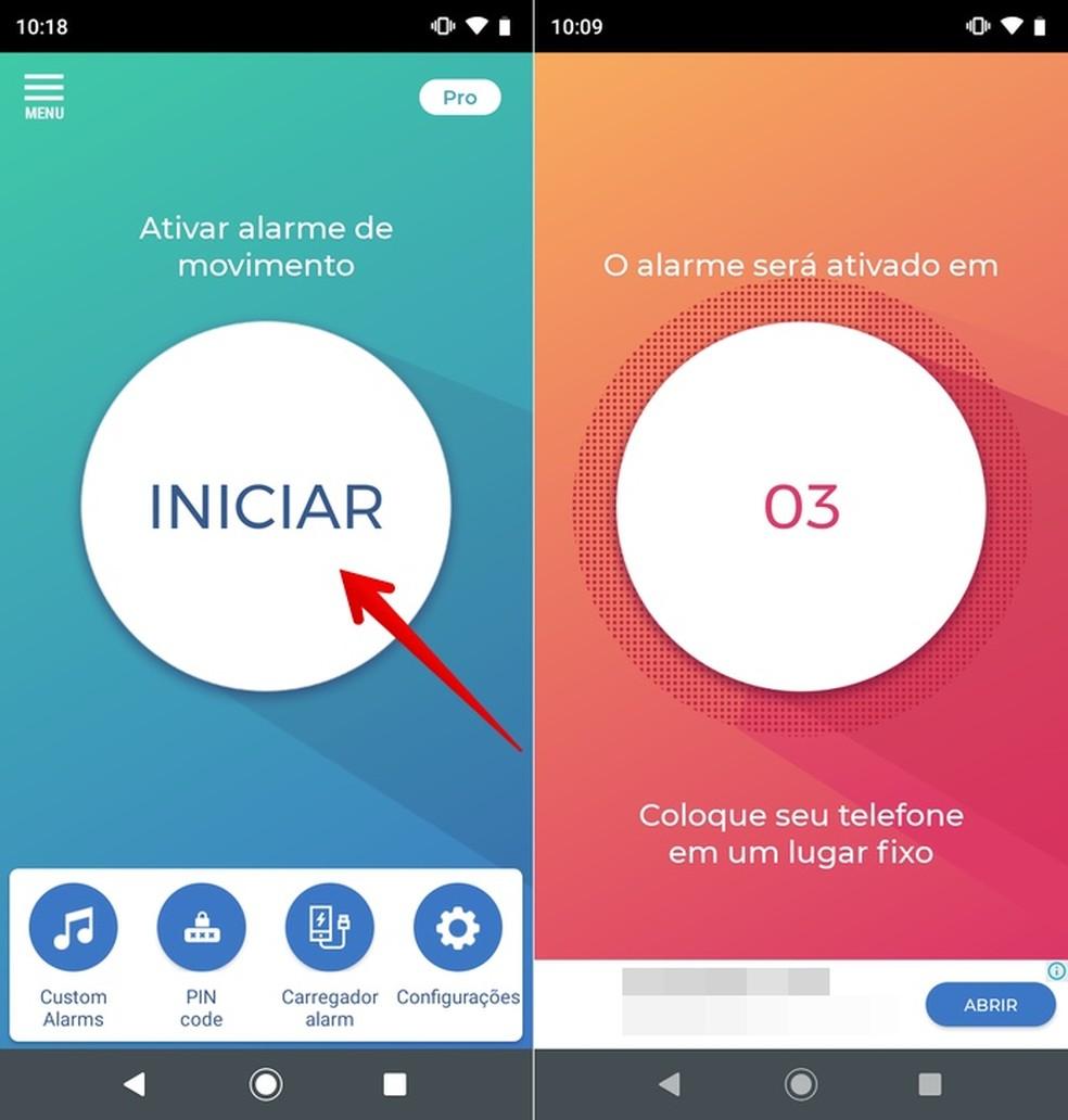 Ativando alarme de monitoramento do celular no app Não toque em meu telefone — Foto: Reprodução/Helito Beggiora