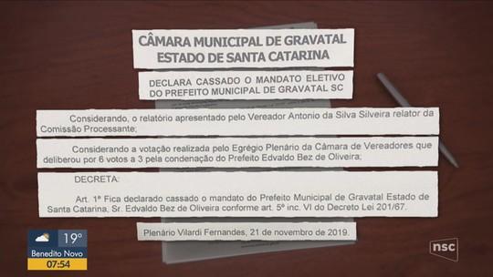 Câmara de Vereadores cassa mandato de prefeito de Gravatal por irregularidades administrativas