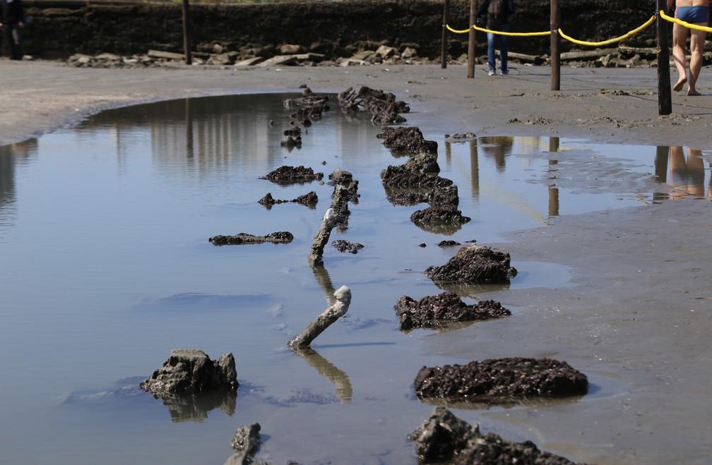 Destroços de navio são encontrados na praia do Embaré, em Santos, SP (Foto: José Claudio Pimentel/G1)