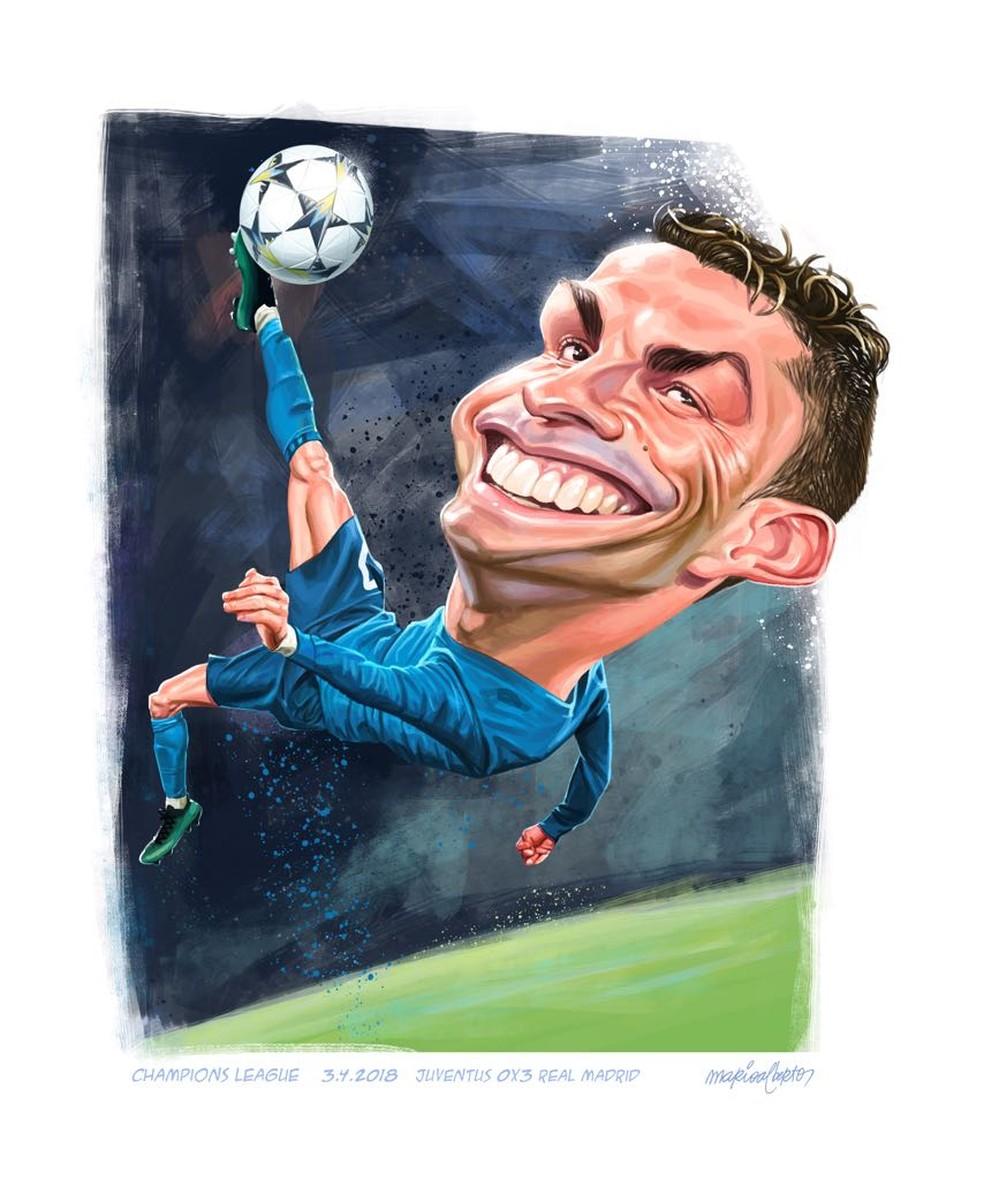 Caricatura lembra golaço de Cristiano Ronaldo diante da Juventus (Foto: Mário Alberto)