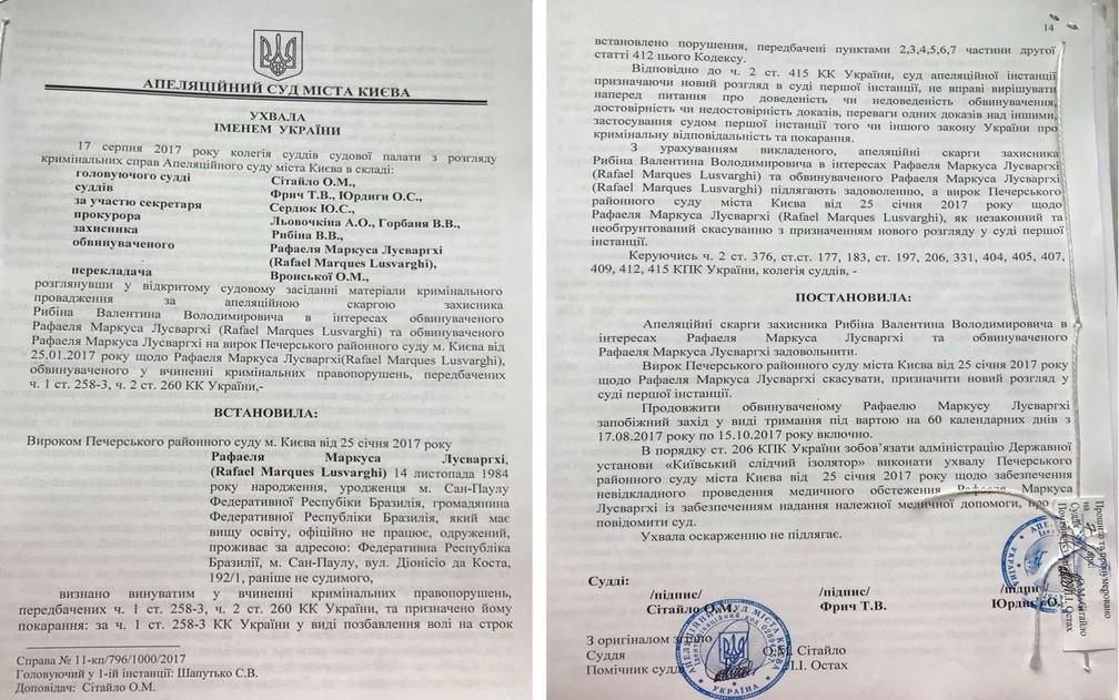 Tribunal de Apelação de Kiev anulou condenação de Rafael Lusvarghi por terrorismo (Foto: Reprodução)