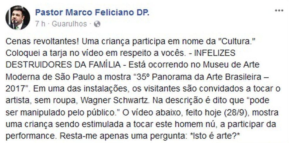 Deputado Marco Feliciano também reagiu contra a apresentação no museu (Foto: Reprodução/Facebook)