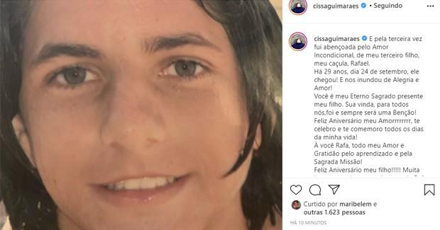 Cissa Guimarães homenageia o filho caçula, Rafael Mascarenhas (1991-2010) (Foto: Reprodução/Instagram)