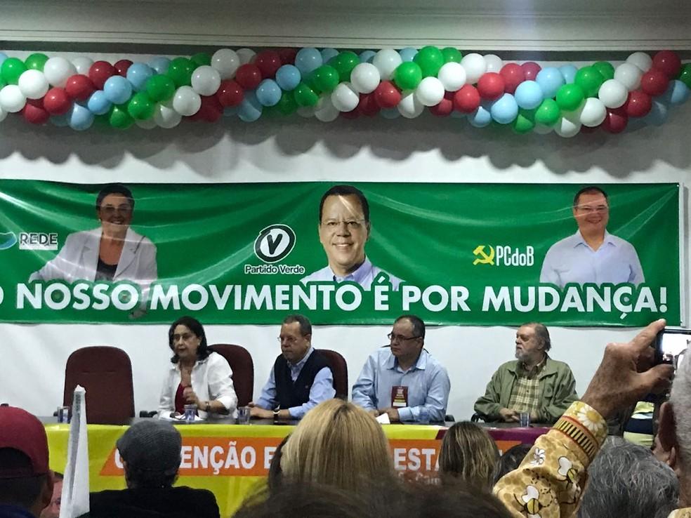 Convenção estadual do PV que lançou Marcelo Bluma como candidato a governador de Mato Grosso do Sul (Foto: Camila Jovê/TV Morena)