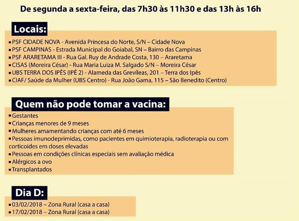 Vacinação em Pindamonhangaba; confira (Foto: Divulgação/Prefeitura de Pinda)