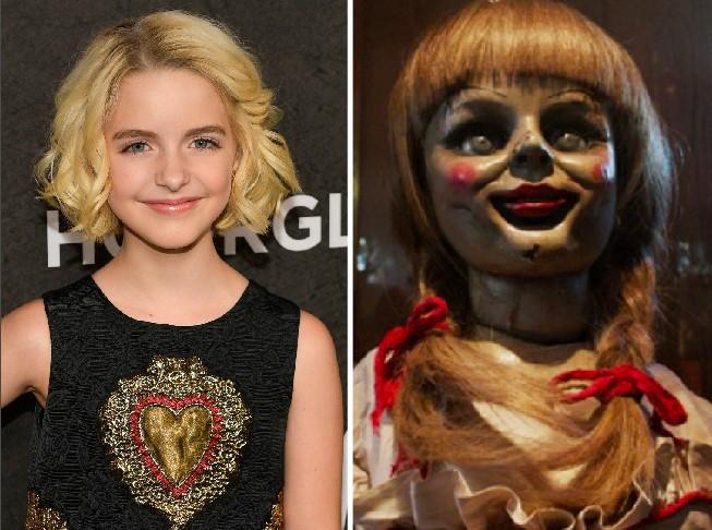 A atriz Mckenna Grace e a boneca Annabelle (Foto: Getty Images/Reprodução)