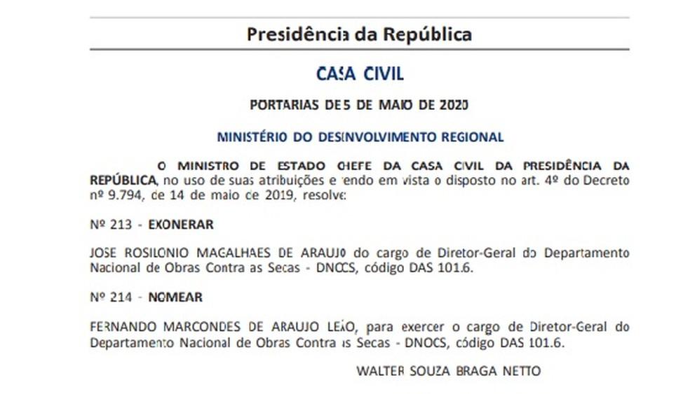 Publicação no 'Diário Oficial da União' de mudança na diretoria-geral do DNOCS — Foto: Reprodução/DOU
