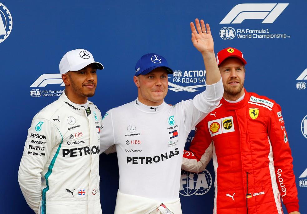 Hamilton, Bottas e Vettel, os três primeiros no grid na Áustria (Foto: Reuters)