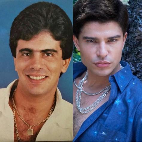 Wagner Montes e Diego Montes caracterizado como o pai (Foto: divulgação)