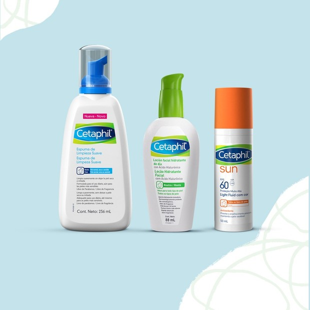 Cetaphil® Espuma de Limpeza Suave, Cetaphil® Loção Hidratante Facial com Ácido Hialurônico, e Cetaphil® Sun Antioxidante com FPS 60 com cor e sem cor (Foto: Divulgação)