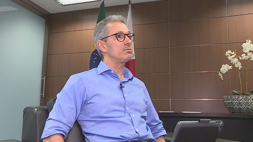 Governador Romeu Zema afirma que os salários de maio de parte do funcionalismo pode não ser pago.  — Foto: Governo de Minas/Divulgação
