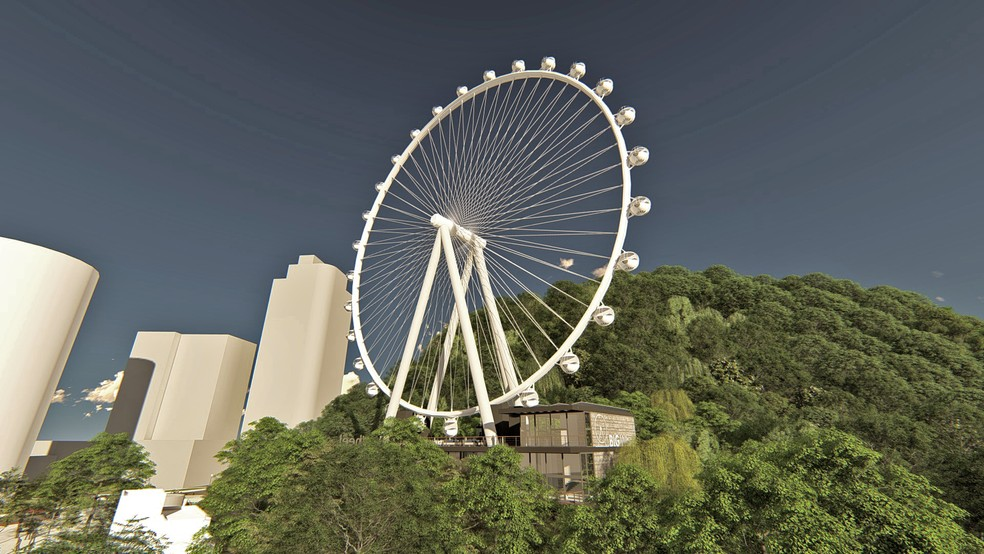 Roda gigante de Balneário Camboriú (SC) tem 65 metros de altura — Foto: Divulgação