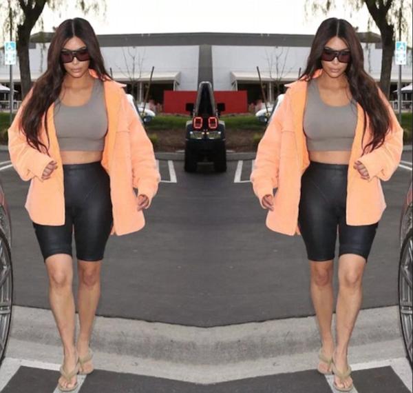A edição feita por um fã que resultou nas falhas da foto compartilhada por Kim Kardashian (Foto: Instagram)