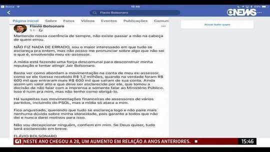 'Não fiz nada errado', diz Flávio Bolsonaro sobre movimentação financeira de ex-assessor