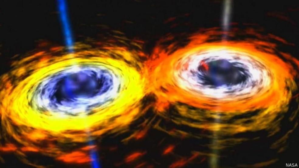 Ondas foram provenientes de dois buracos negros, a 1,8 bilhão de anos-luz da Terra (Foto: Nasa)