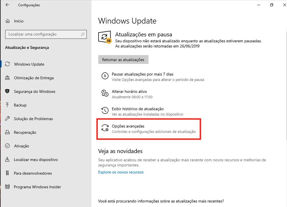 Atualização do Windows Update em pausa — Foto: Reprodução/G1