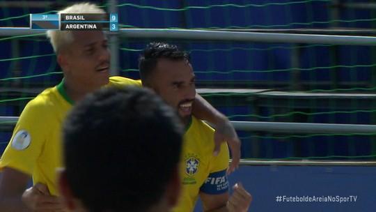 Brasil goleia Argentina no Rio de Janeiro e garante a vaga na Copa do Mundo de futebol de areia