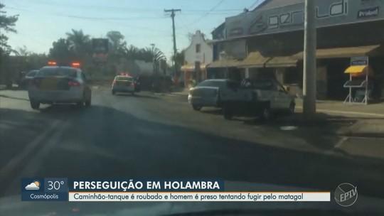 Polícia detém motorista de caminhão-tanque roubado após perseguição em Holambra