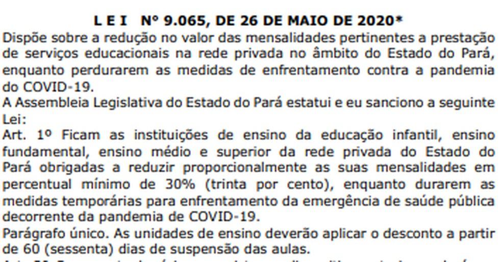 """Texto novo da lei suprime trecho do """"parágrafo único"""" que fala em negociação para devolução do valor descontado nas mensalidades após pandemia — Foto: Reprodução"""