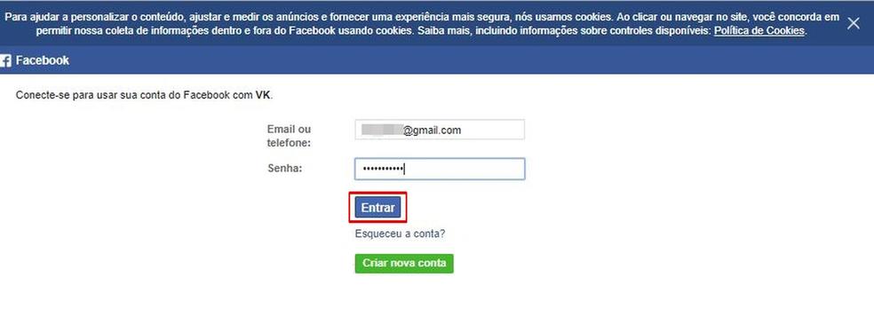 Insira os dados de login do Facebook para criar uma conta no VK — Foto: Reprodução/Taysa Coelho