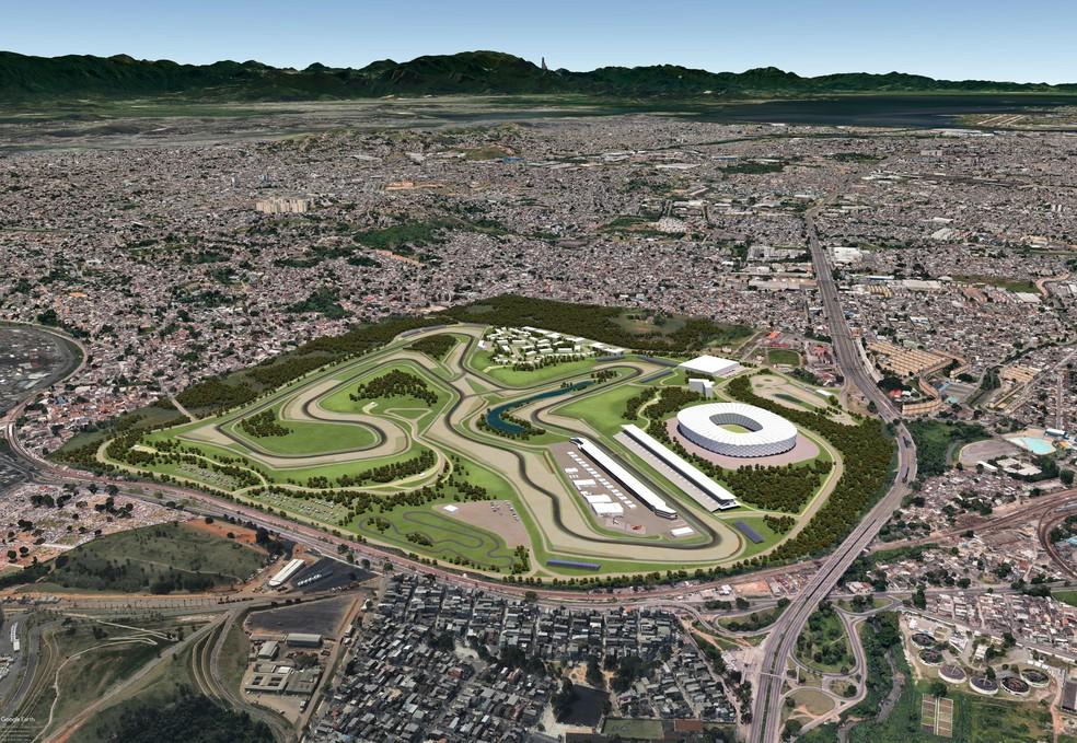Projeto pretende construir autódromo no bairro de Deodoro, no Rio — Foto: Reprodução