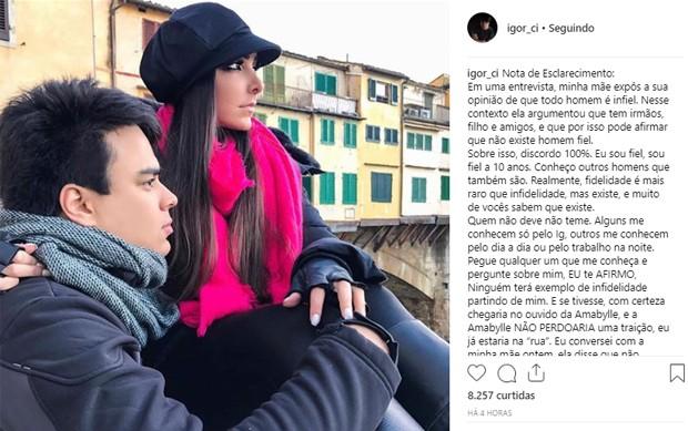 Igor Ci faz desabafo após entrevista da mãe, Zilu (Foto: Reprodução/Instagram)