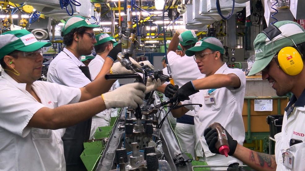 Fábrica de motocicletas em Manaus, no Amazonas — Foto: Divulgação