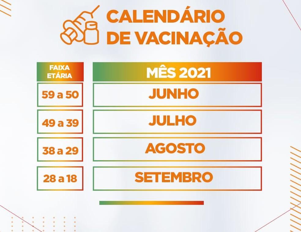 Covid: Governo do RN divulga calendário de vacinação  — Foto: Divulgação