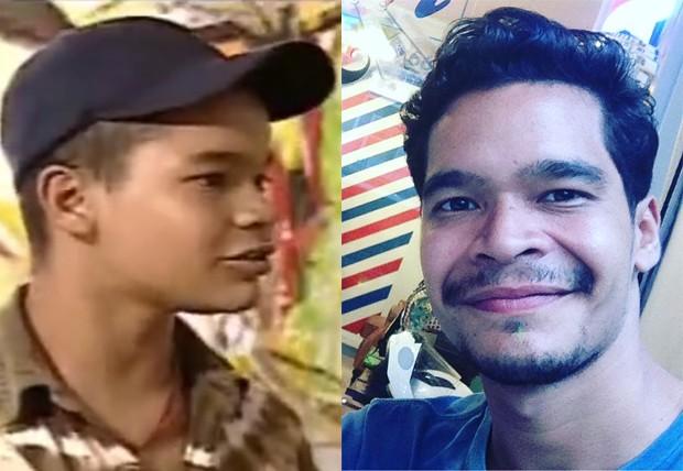 José Trassi como Dodô no seriado Sandy e Junior e em 2018 (Foto: Reprodução)