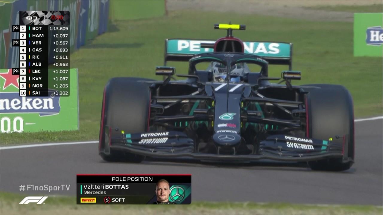 Bottas supera Hamilton no fim e crava a pole com 1m13s609 no GP da Emilia-Romagna