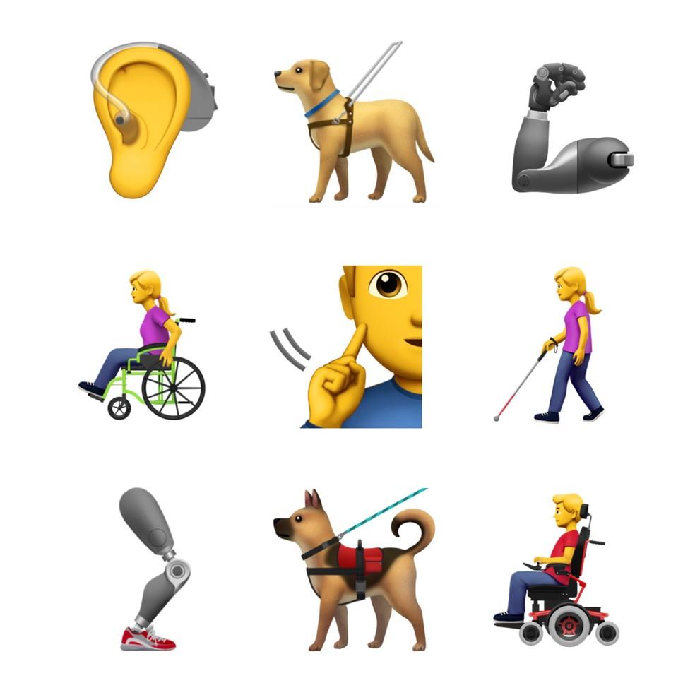 Emojis que retratam universo de deficientes físicos sugeridos pela Apple. (Foto: Divulgação/Unicode)