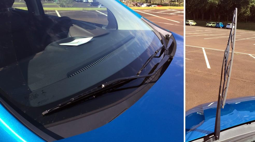 Palhetas da Chevrolet Spin não são do tipo flat-blade, que varrem melhor a água — Foto: André Paixão/G1