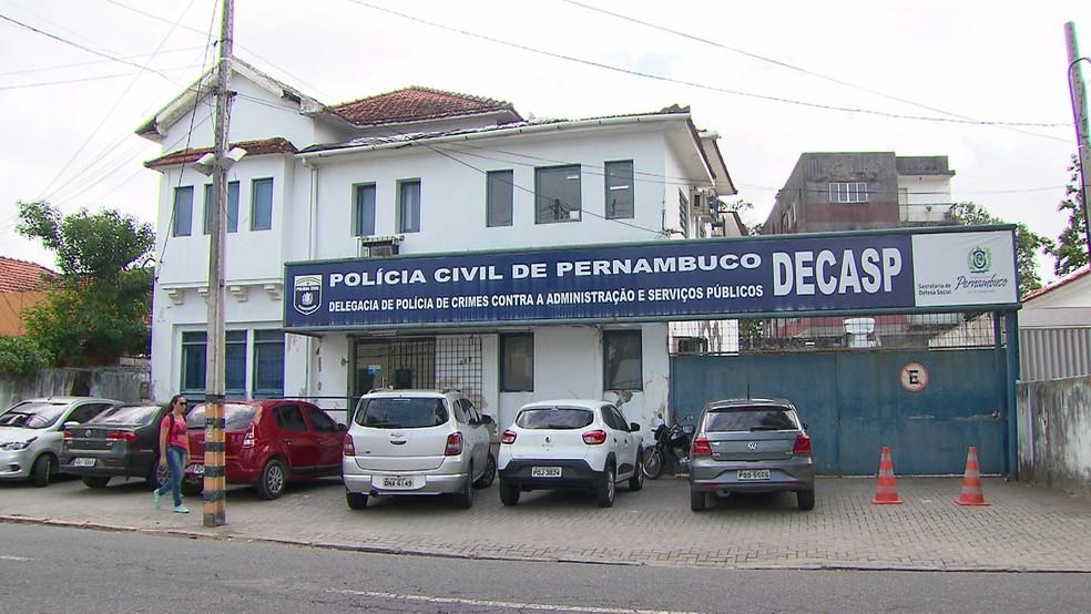 Delegacia de Polícia de Crimes Contra a Administração e Serviços Públicos (Decasp) fica no Centro do Recife — Foto: Reprodução/TV Globo