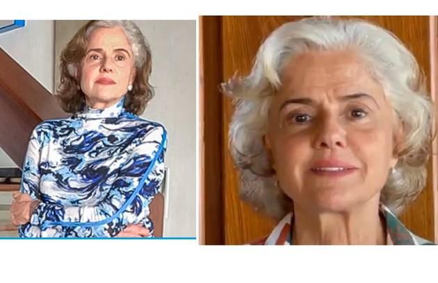 Marieta Severo apareceu com os cabelos brancos neste fim de semana, ao falar sobre a vacinação contra Covid (Foto: Reprodução)