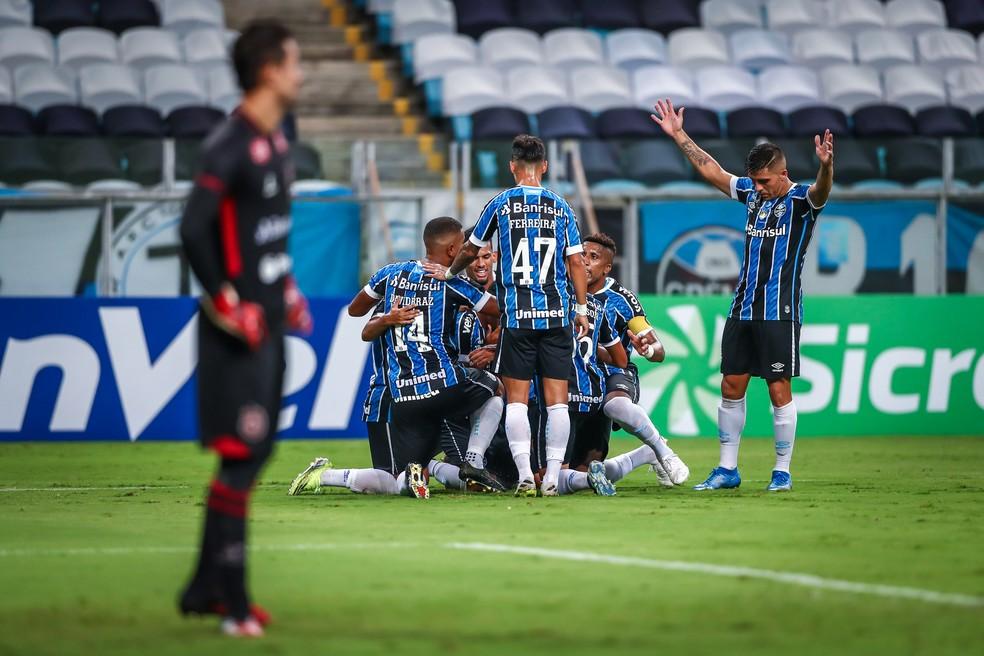 Grêmio venceu o Brasil de Pelotas por 4 a 1 no Gauchão — Foto: Lucas Uebel/DVG/Grêmio