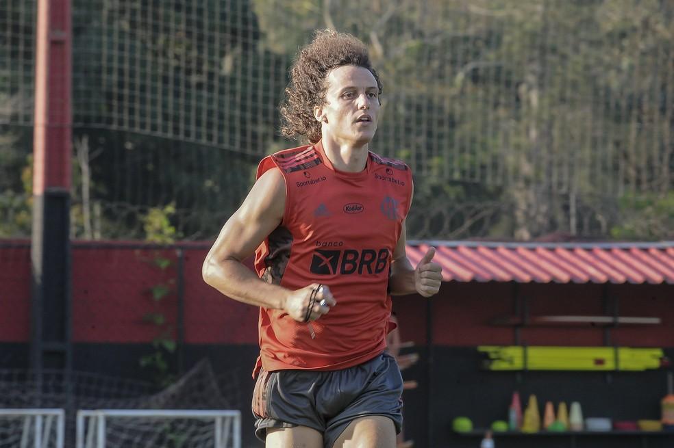 David Luiz no treino do Flamengo — Foto: Marcelo Cortes/Flamengo