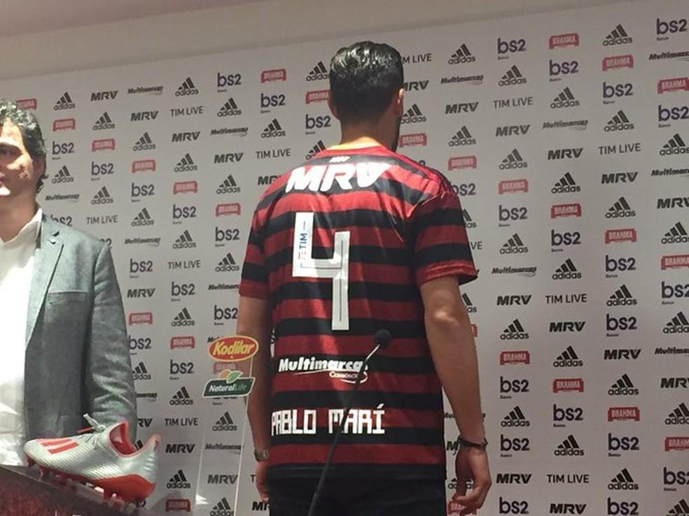 Pablo Marí, Flamengo, Apresentação — Foto: Thiago Lima/GloboEsporte.com